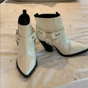 Jane and the shoe white patent ankle booties
